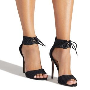 NIB Black crochet Lace Up stiletto heeled sandal
